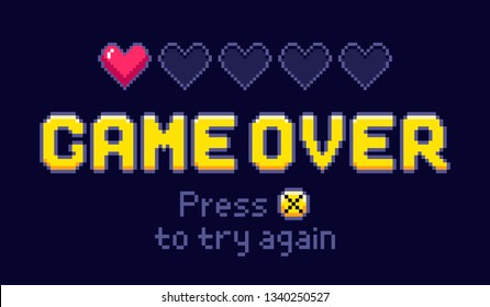 Game over screen. Pixel retro games, try again and 8bit gaming last life. Gamer playing entertainment pixel arcade, game over or pixelated videogaming arcades life and death vector illustration