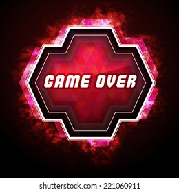 Game over sign on computer game screen / game badge