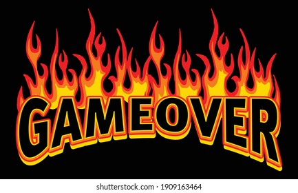 Game Over text illustration with flames for tee and poster