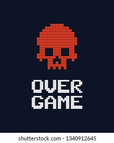 Game over text and red skull 8 bit vector illustration. Retro video game design element on dark background