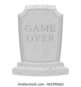 Game over tomb. Carved stone end of play. text tombstone. RIP old cracked. Death is stop of life. final inscription on grave