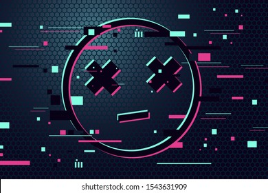 Game over vector background. Emoticon with glitch effect. Gamer poster. 404 web page