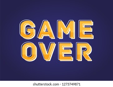 Game Over Vector Text Illustration Background