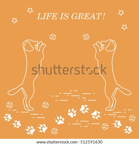 Game Pet Silhouettes Dogs Jumping Tennis Stock Vector