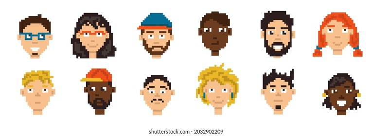 Game pixel avatar. Mobile gaming hero portrait. 8-bit character skin collection. Player pixelated account icon design. Isolated male or female heads. Vector cute digital graphic faces set
