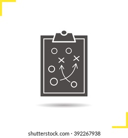 Game plan icon. Drop shadow tactics clip board silhouette symbol. Sport game strategy clipboard plan. Game plan logo concept. Vector sport game stratedgy scheme isolated illustration