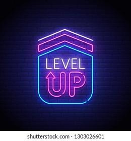 Game popup. Level up neon sign, bright signboard, light banner. Game logo neon, emblem. Vector illustration