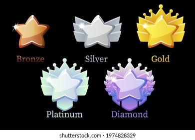 Game Rank Reward Star, gold, silver, platinum, bronze, diamond icons for game.