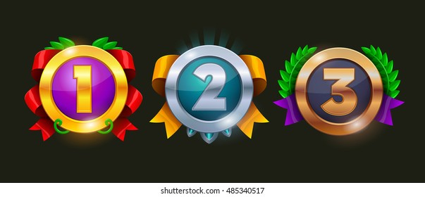 Game rating icons with medals.  Level results vector icon design for game, ui, banner, design for app, interface, game development, playing cards, slots and roulette. 1,2,3 place icon