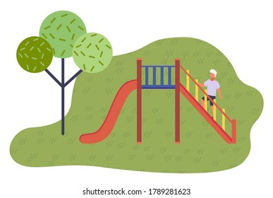 Game red slide with stairs, railing. Slide down the hill. Game children's equipment. Child climbing stairs. Green city park, trees. Children's outdoor roller coaster. Flat vector illustration
