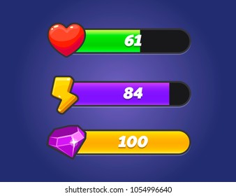 Game Resources Icons with Progress Bars. Vector GUI elements for games. Game ui set. Graphical user interface GUI to build 2D games. Casual Game. Vector. Can be used in mobile or browser games.
