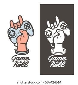 Game and roll t-shirt design. Oldschool video games related poster. Hand with joystick in rock on gesture. Vector vintage illustration.