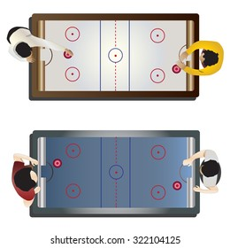 Game room, Hockey table top view for interior , vector illustration