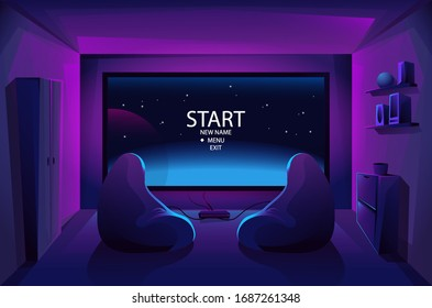 Game room interior. Night stream. Play video games on the console. Big TV screen . Two armchairs . Battle. Start. Vector illustration.