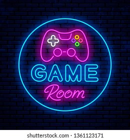Game room. Neon sign design. Neon glowing icon. Vector Illustration
