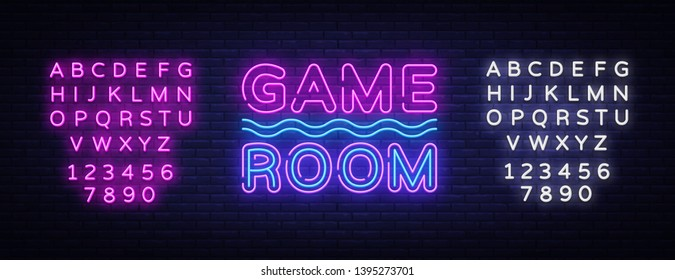 Game Room Neon Text Vector. Gaming neon sign, design template, modern trend design, night signboard, night bright advertising, light banner, light art. Vector illustration. Editing text neon sign