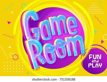 Game Room Vector Banner in Cartoon Style. Bright Yellow Funny Background for Children's Playroom Decoration. Symbol for Playroom. Colorful Illustration with Childish Pattern.
