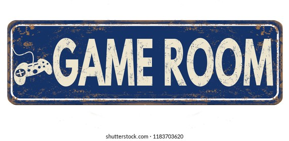 Game room vintage rusty metal sign on a white background, vector illustration