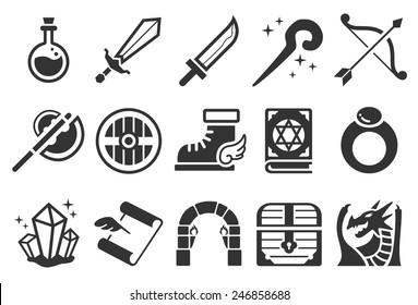 Game RPG vector illustration icon set. Included the icons as magic wand, sword, archer, dragon, dungeon, shield and more.