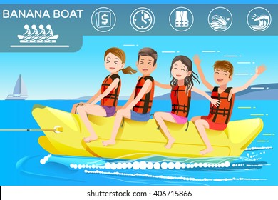Game in sea. Activity Summer holidays of tourism on the beach. People and a banana boat. Illustrated books and websites about funny travel.