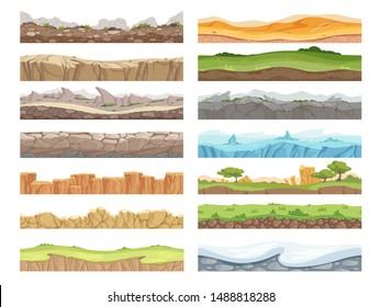 Game seamless ground. Cartoon rock dirt landscape stone ground asset 2d floor vector background