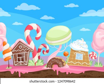 Game seamless sweet landscape. Fantasy delicious background desserts candy sugar caramel chocolate biscuits lollipop vector cartoon