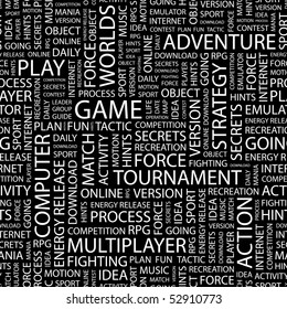 GAME. Seamless vector background. Wordcloud illustration.