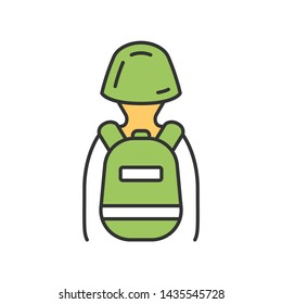 Game soldier with tactical backpack color icon. Virtual video game equipment. Player with game inventory back view. Warrior, soldier in helmet and rucksack. Cybersport. Isolated vector illustration
