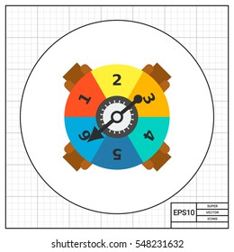 Game spinner with numbers and arrow icon