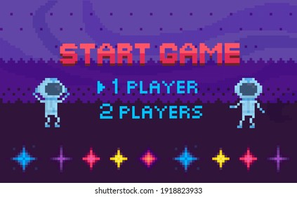 Game start and player selection interface. Pixel game home page. Astronauts flying in space sky. Retro 8-bit app logo and design layout. Aliens in spacesuits for video gaming in pixel style
