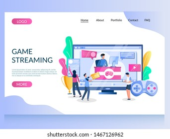 Game streaming vector website template, web page and landing page design for website and mobile site development. Gamer playing online video game in front of computer using console controller.