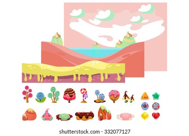Game sweets pieces, horizontal scrolling seamless backgrounds for game ui