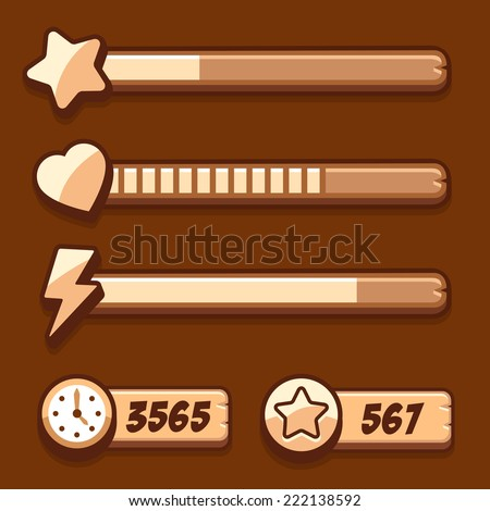 Game Swooden Energy Time Progress Bar Stock Vector Royalty Free