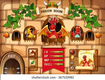 Game template with dragon and castle background illustration