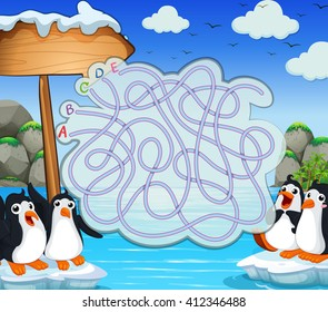 Game template with penquins on iceberg illustration
