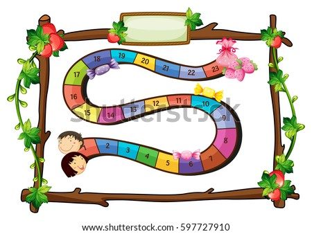 Game Template Wooden Frame Illustration Stock Vector Royalty Free
