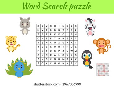 Game template word search puzzle of animals for children with pictures. Kids activity worksheet printable version. Educational game for study English words. Includes answers. Vector stock illustration