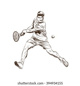 Game of tennis player in sketch. vector.