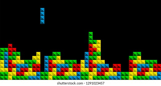 Game Tetris pixel bricks. Game tetris colorfull background - Vector illustration