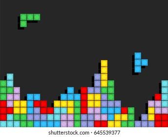 Game Tetris pixel bricks. Colorfull Game background