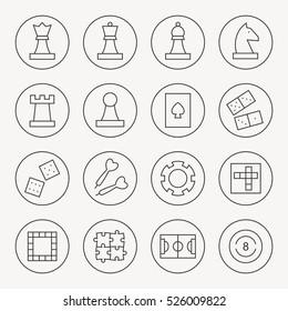 Game thin line icon set