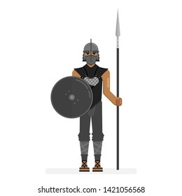 Game of Thrones fictional character Grey Worm, commander, isolated on white background standing and holding spear and shield in black leather armour. Cartoon colourful vector illustration