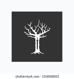 Game of thrones icon. Royal tree in cartoon style. Vector illustration. EPS 10.