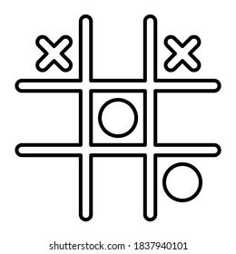 Game tic tac toe icon in modern outline style design. Vector illustration isolated on white background.