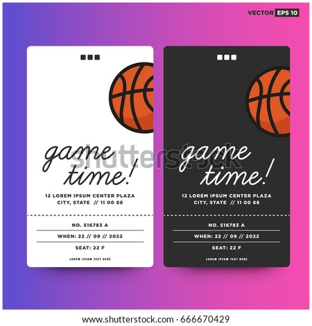game time basketball event ticket card stock vector royalty free