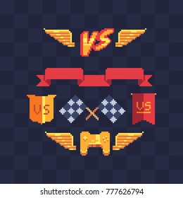 Game tournament achievement emblem. Pixel art icons set. Versus logo. Crossed checkered flags. Golden gamepad. 8-bit sprites. Game assets. Isolated abstract vector illustration.