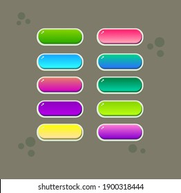 Game UI Buttons Juisy Colorful Set  Blue Green Red Pink Yellow Purple Vector Design