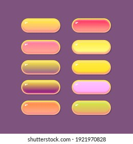 Game UI Buttons Set Glamour Border Golden Yellow Pink Purple Vector Design