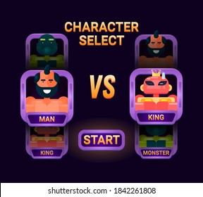 Game ui character selection pop up for 2d gui interface vector illustration