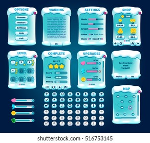 Game UI. Graphical user interface set. Mobile game appliance. Winter sport activities. Ice hockey, figure skating, skiing, snowbording, curling, bobsleigh. Buttons icons screens examples Vector